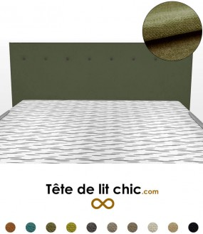 Tête de lit rectangulaire verte foncée à boutons en tissu anti-tache