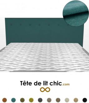 Tête de lit design bleu canard à boutons en tissu anti-tache