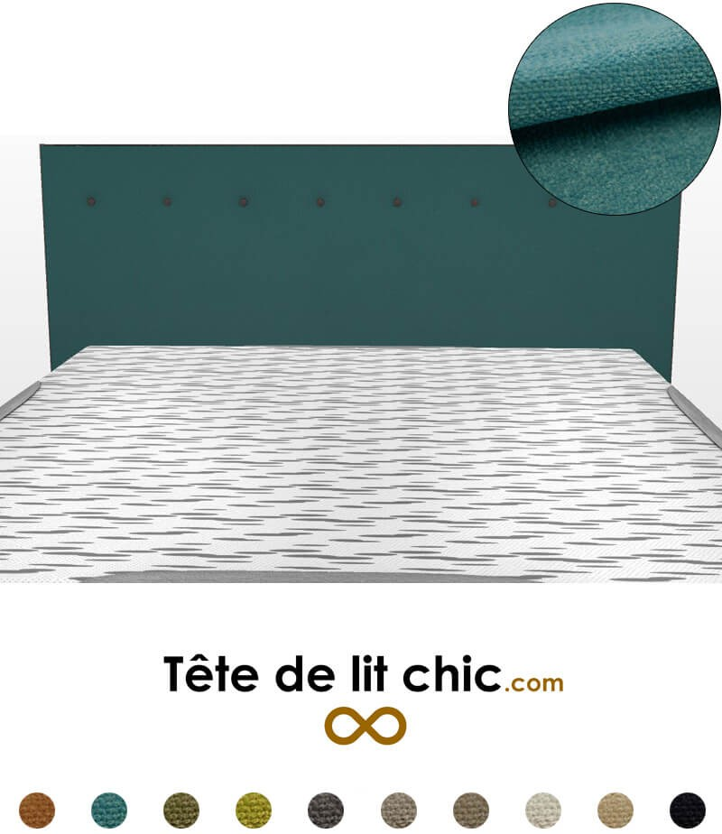 t te de lit design bleu canard boutons en tissu anti tache. Black Bedroom Furniture Sets. Home Design Ideas