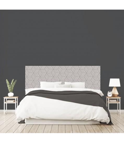 """Tête de lit """"ART DECO GEOMETRIQUE"""" Labyrinthe grise sur mesure"""