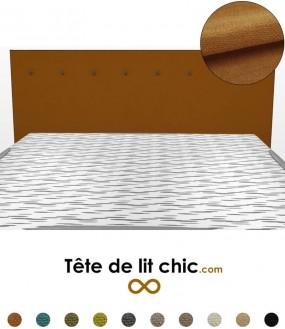 Tête de lit design marron caramel à boutons en tissu anti-tache