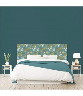 """Tête de lit """"ORNEMENT"""" bleue et jaune moutarde sur mesure"""