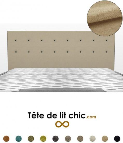 Tête de lit beige anti-tache à boutons sur deux rangées personnalisable