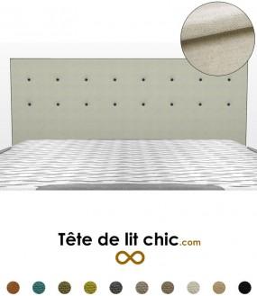 Tête de lit beige clair anti-tache avec deux rangées de boutons personnalisable