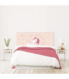 """Tête de lit """"LICORNE"""" Fille Rose sur mesure"""