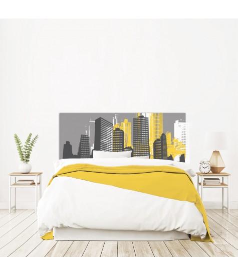 """Tête de lit """"NEW YORK"""" City Grise et jaune sur mesure"""