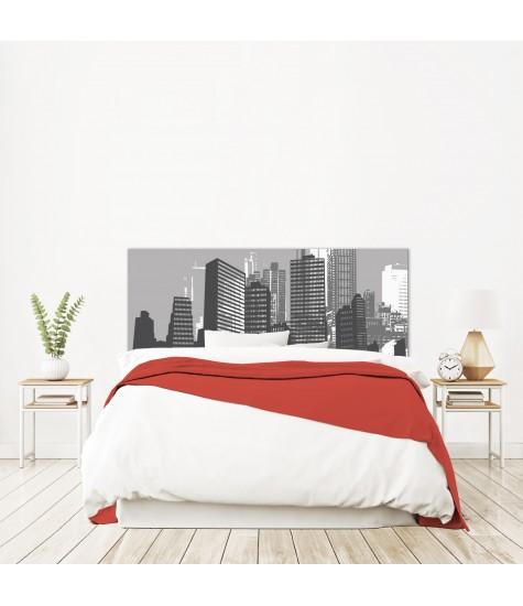 """Tête de lit """"NEW YORK"""" City Grise et blanche sur mesure"""