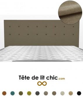 Tête de lit droite taupe à boutons sur 2 rangées en tissu anti-tache