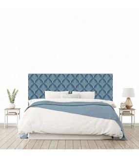 """Tête de lit """"FEUILLES PLUMES"""" Bleue Art Deco sur mesure"""