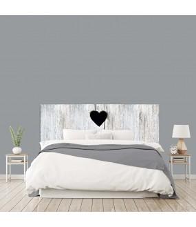 """Tête de lit """"BOIS COEUR"""" Trompe l'oeil photo Blanche grisée charme sur mesure"""