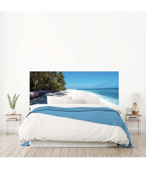 """Tête de lit """"PHOTO TROPIQUES ILE PALMIER"""" Bleue beige sur mesure"""