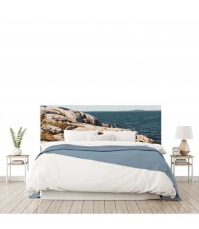 """Tête de lit """"PHOTO BRETAGNE BORD DE MER """" Bleue beige sur mesure"""