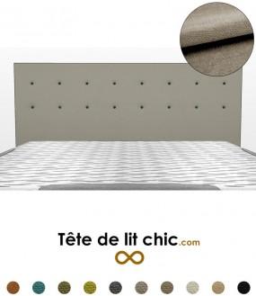 Tête de lit rectangulaire gris clair à boutons sur 2 rangées en tissu anti-tache