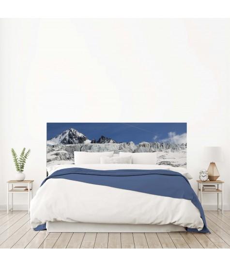 """Tête de lit """"PHOTO MONTAGNES """" Bleue gris blanc sur mesure"""