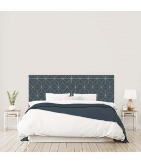 """Tête de lit """"VINTAGE ART DECO"""" Losanges bleue marine sur mesure"""