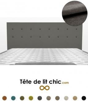 Tête de lit rectangulaire gris foncé à boutons sur 2 rangées en tissu anti-tache