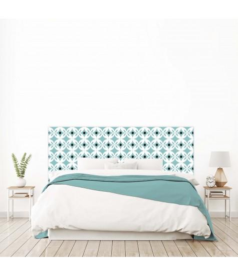 """Tête de lit """"CARRELAGE"""" bleue sur mesure"""