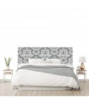 """Tête de lit """"MOTIF BAROQUE"""" gris noir sur mesure"""