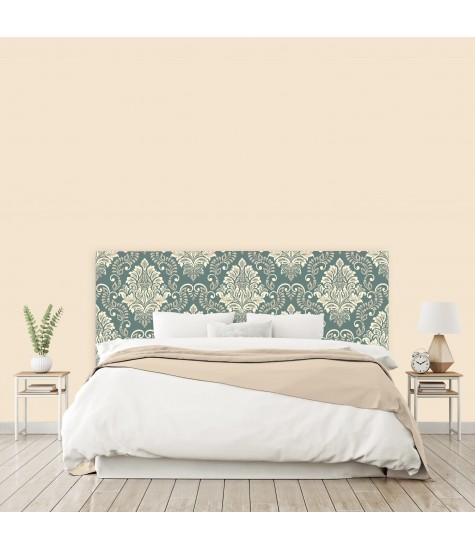 """Tête de lit """"MOTIF BAROQUE"""" bleu beige sur mesure"""