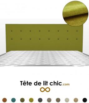 Tête de lit verte à boutons sur 2 rangées en tissu anti-tache