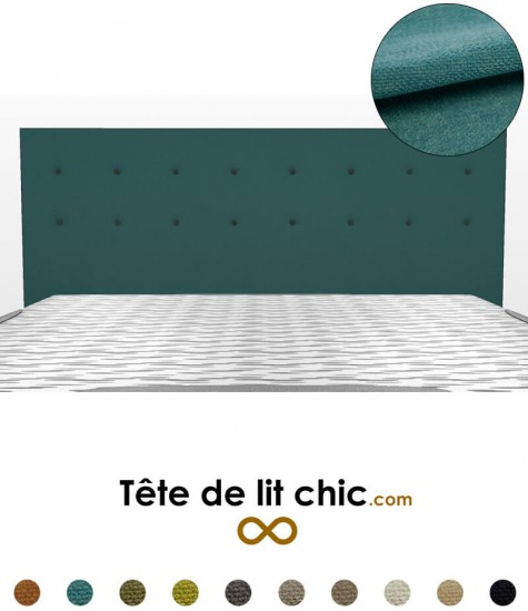 t te de lit bleu canard boutons sur 2 rang es en tissu. Black Bedroom Furniture Sets. Home Design Ideas