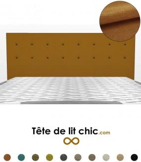 Tête de lit marron caramel à boutons sur 2 rangées en tissu anti-tache
