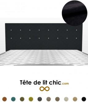 Tête de lit noire en tissu anti-tache à boutons sur deux rangées personnalisable