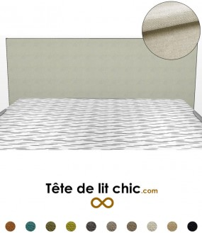 Tête de lit rectangulaire beige clair en tissu anti-tache personnalisable
