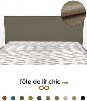 Tête de lit design droite taupe en tissu anti-tache