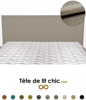 Tête de lit design rectangulaire gris clair en tissu anti-tache