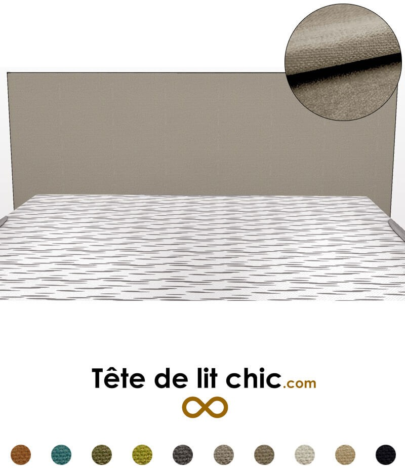 t te de lit design rectangulaire gris clair en tissu anti tache. Black Bedroom Furniture Sets. Home Design Ideas