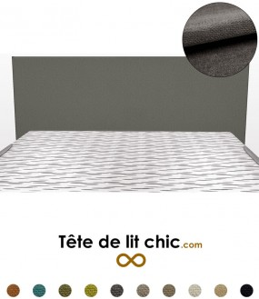 Tête de lit rectangulaire gris foncé en tissu anti-tache