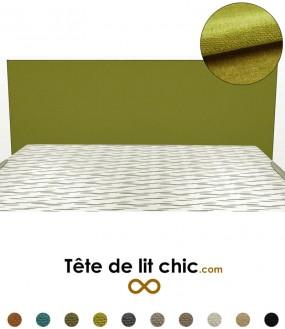 Tête de lit rectangulaire verte en tissu anti-tache personnalisable