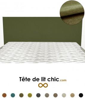 Tête de lit rectangulaire verte foncée personnalisable en tissu anti-tache