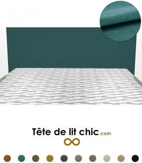 Tête de lit design bleu canard personnalisable en tissu anti-tache