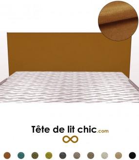 Tête de lit design marron caramel rectangulaire en tissu anti-tache