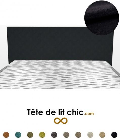 Tête de lit moderne rectangulaire noire en tissu anti-tache personnalisable