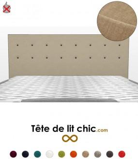 Tête de lit beige anti-feu à boutons sur deux rangées personnalisable