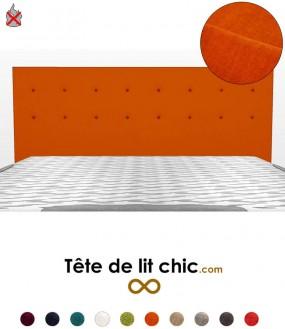 Tête de lit orange anti-feu personnalisable à boutons sur deux rangées