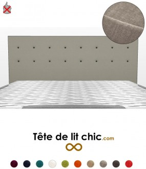 Tête de lit gris clair anti-feu personnalisable à boutons sur deux rangées
