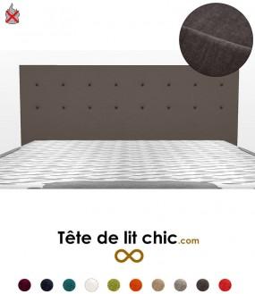 Tête de lit gris foncé anti-feu personnalisable à boutons sur deux rangées