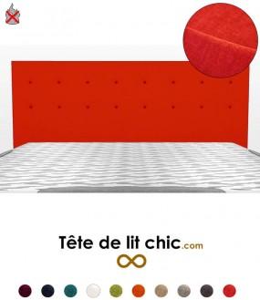 Tête de lit rouge anti-feu personnalisable à boutons sur deux rangées