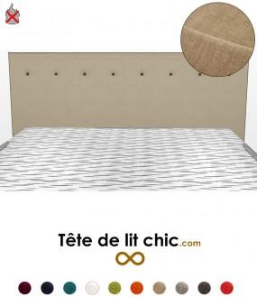 Tête de lit beige anti-feu à boutons sur une rangée personnalisable