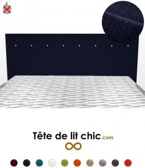 Tête de lit moderne noire anti-feu personnalisable à boutons