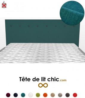 Tête de lit moderne bleu canard anti-feu personnalisable à boutons