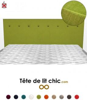 Tête de lit moderne verte anti-feu personnalisable à boutons