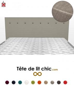 Tête de lit moderne gris clair anti-feu personnalisable à boutons