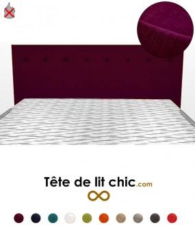 Tête de lit design violette anti-feu personnalisable à boutons