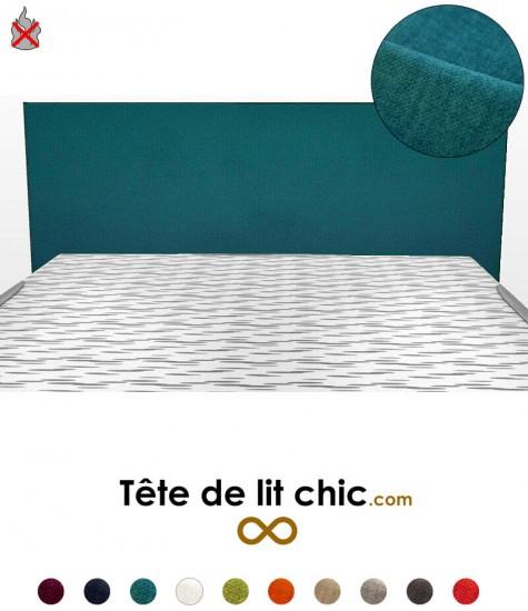 Tête de lit bleu canard anti-feu rectangulaire design personnalisable