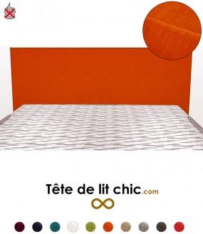 Tête de lit orange anti-tache anti-feu rectangulaire personnalisable